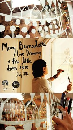 Mary Bernadette Live Drawing at the little dröm store.    watch the video here: http://www.youtube.com/watch?v=jcRE6Jo5dMg=plcp