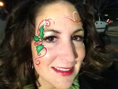 Christmas Holly - Face Painting by Jennifer Van Dyke