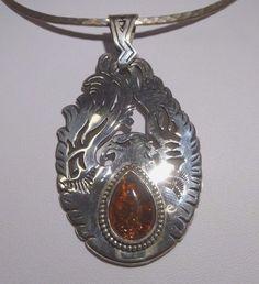 Dennison Tsosie Eagle Pendant Baltic Amber Navajo Sterling Silver Handcrafted #DennisonRTsosie