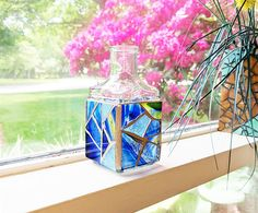 Small Blue Stained Glass Mosaic Bottle Vase Blue Glass Bottle