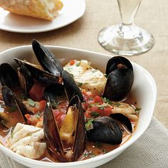 This fast-cooking stew is brimming with fish and mussels. Serve with a gluten-free French bread baguette to soak up the broth.