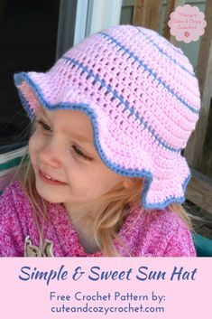 How would like to crochet a super easy and cute sun hat for someone? The Simple & Sweet Sun Hat is the perfect summer cap to make for a baby, toddler, teen, or woman. Get the free crochet pattern at cuteandcozycrochet.com.