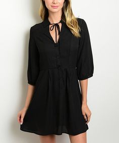 Loving this Black Tie-Neck Button-Front Dress on #zulily! #zulilyfinds Forever lily, $18.