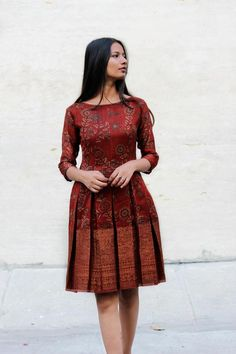 Shop from an exclusive selection of bohemian fusion-wear made using traditional Indian handcrafted cotton, handloom, block printed and hand embroidered fabrics. Funky Dresses, Stylish Dresses For Girls, Stylish Dress Designs, Frocks For Girls, Short Dresses, Girls Frock Design, Long Dress Design, Simple Frock Design, Indian Gowns Dresses