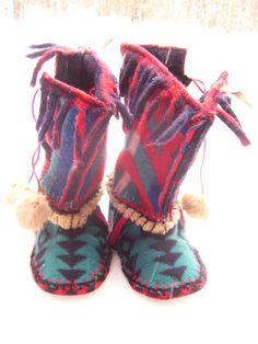 Felted Pendleton Blanket Wool Slipper Boots/ Wool Lined/ Sheepskin & Leather Soles