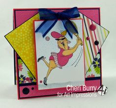 "Art Impressions: Ai People ""Birthday Love"" (sku#4529) set ... handmade tennis themed card."