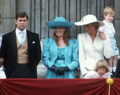 Prince Andrew, Sarah Duchess Of York, Princess Diana And Prince Harry On The Balcony Of Buckingham Palace For Trooping The Colour. She is wearing a hat by Philip Somerville. Get premium, high resolution news photos at Getty Images Princess Diana Fashion, Princess Diana Pictures, Princess Kate, Princess Of Wales, Sarah Ferguson, Fergie Ferguson, Prince Andrew, Windsor, The Queens Children