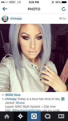 Slightly angled bob, silver/blue hair