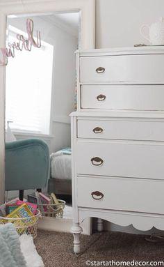 Girls room remodel.  Beautiful refinished dresser