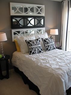 Guest room idea...love the little pop of yellow + green with the black + white.