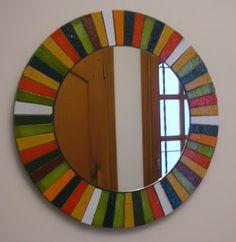 Stained Glass Mirror, Mirror Mosaic, Mirror Art, Mosaic Wall, Mosaic Glass, Glass Art, Stained Glass Patterns, Mosaic Patterns, Mosaic Pictures