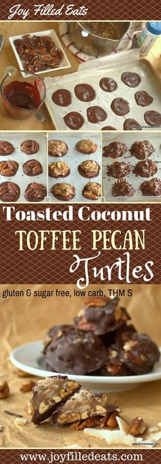 Chocolate + Toffee + Toasted Pecans AND Coconut? Yes. Please. These Turtles are amazing. And sugar free, gluten free, low carb, and THM S approved. Keto #keto #lowcarb