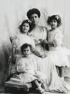 Elena Vladimirovna, Princess Nicholas of Greece, with her daughters l-r: Olga, Marina, and Elizabeth.