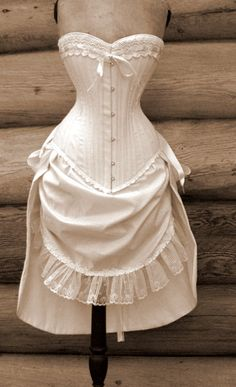 Steampunk Wedding Dress- Natural Unbleached Cotton.....I bet if you put you're wedding colors on it and all that good stuff this would make a perfect brides maid dress
