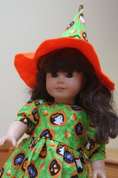 18 American Girl Doll Halloween Dress Witches Hat by sewlucky42, $13.99