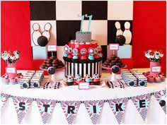 Who said bowling was just for old men and bikers? The bright red contrasts well with typical bowling blacks and whites. Great birthday theme for girls and boys! Birthday Themes For Boys, Boy Birthday Parties, Birthday Ideas, Teen Birthday, Themed Parties, Cowboy Party, Safari Party, Bowling Party Themes, Dessert Table Birthday