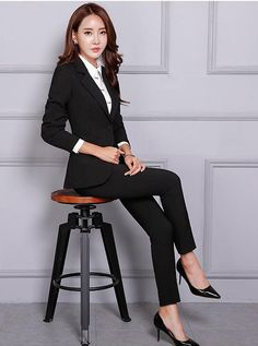 Women's Pant and Blazer Suit Simple Long Slim for Business omymarts Business Attire, Business Women, Pantsuits For Women, Dress For Success, Office Ladies, Beautiful Gowns, Blazer Suit, Women's Pants, Work Wear