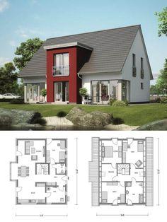 Modernes Einfamilienhaus klassisch mit Satteldach Architektur & Zwerchgiebel - Haus bauen Grundriss Massivhaus Klassik 1190.BIG von Deutsche Bauwelten - HausbauDirekt.de