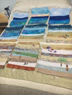 Strip Quilts, Scrappy Quilts, Mini Quilts, Ocean Quilt, Beach Quilt, Tropical Quilts, Landscape Art Quilts, Quilt Patterns, Quilting Ideas