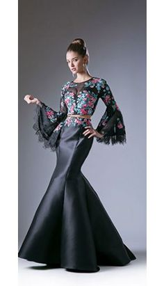 Black   Floral Print Two Piece Mermaid Gown for Prom 2017 Prom Dresses  2017 87aad1cdb099