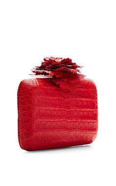 Red Crocodile Skin Clutch by Nancy Gonzalez
