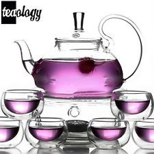 NEW! TEAOLOGY FIORE BOROSILICATE GLASS TEAPOT KETTLE AND 6 CUP SET