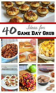 40 Ideas for Game Day Grub  found at www.chocolatechocolateandmore.com