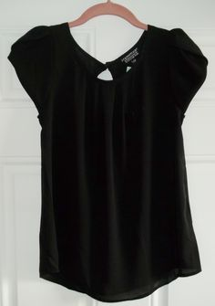 Stitch Fix October 2015. Papermoon Bastille Tulip Sleeve Blouse in Black. Petite size is perfect for short torsos. 100% Polyester, split sleeve, keyhole detail on back. https://www.stitchfix.com/referral/4292370