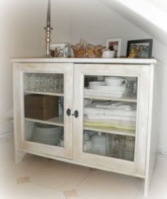 My Shabby Chic Home: TV CABINET TRANSFORMATION=  I think this would be nice in a bathroom for towels and such.