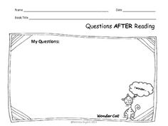 Questioning Reading Comprehension Strategy - Forms for Students to Use with Any Text - for K, 1, 2!  TpT $