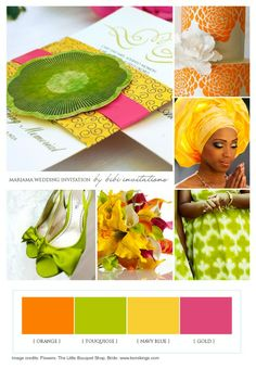 Perfect for your summer wedding! Tangerine, Lime green, yellow and pink from our Ifeoma collections: http://www.bibiinvitations.com/Ifeoma-Collections-s/44.htm
