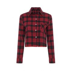Yoins Yoins Long Sleeve Check Crop ($19) ❤ liked on Polyvore featuring tops, red, shirts & tops, red checked shirt, red crop top, checkered crop top and basic tee shirts