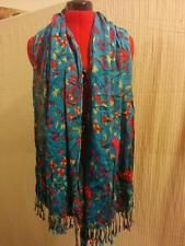 """Blue Crinkle Shawl Wrap Soft Lightweight Rayon Modified Pink Paisley 68"""" by 25""""  
