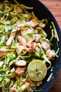 Cilantro Lime Chicken with Zoodles and Avocado - This clean eating recipe is so simple and delicious, plus, you can make it in one pan!