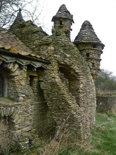 Property built by Colin Stokes in Chedglow, Wiltshire, England. The Hobbit House was a sheep shed built without permission by a local artist, the sprawling construction took nearly ten years to build. Abandoned in the 1990s.