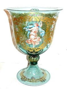 Polychrome enamel decorated green Murano glass chalice/goblet with 4 neoclassical goddesses attrib. to Francesco Toso Borella for Salviati  Co, Venice, Italy