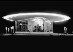 """Arthur Pfau - gas station """"Guter Hirte"""" in Ludwigshafen am Rhein, Germany, ca. 1955  designed by Karl Latteyer and Alfred Koch, 1952-53"""