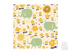 Cute Seamless Pattern with Elephants and Yellow Flowers. Spring Floral Vector Background Can Be Use Art Print by smilewithjul at Art.com