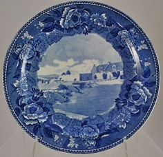 Wedgwood Fort Ticonderoga Blue Transferware Plate c 1900