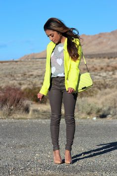 Bright yellow blazer, grey skinny (faux) leather pants,
