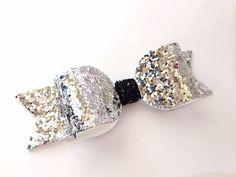 Silver Glitter Bow / Silver Glitter Barrette / by MeghanandJulie, $7.00