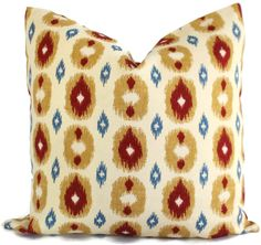 Etsy Blue, Red, Honey Ikat Decorative Pillow Cover, Square, Lumbar or Eurosham, Accent Pillow, Throw Pill