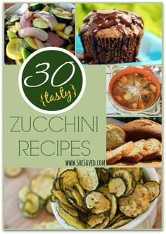 30 Tasty Zucchini Recipes. Pin this and come back to it when your garden is bursting with zucchini this summer! www.SheSaved.com