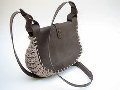 Leather Bag / Klotho /Knitted Bag / Hand Stitched Leather Bag