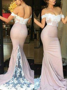 Elegant Off Shoulder Sweep Train Mermaid Bridesmaid Dress with Lace Top