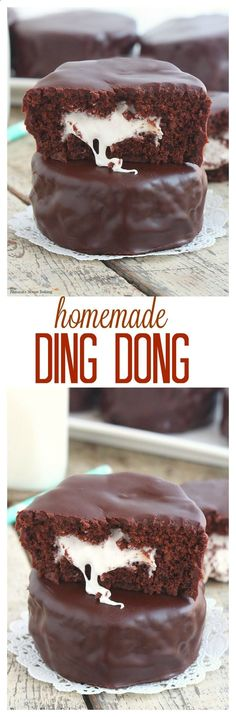 Rich chocolate cake stuffed with a gooey marshmallow filling, this homemade ding…: