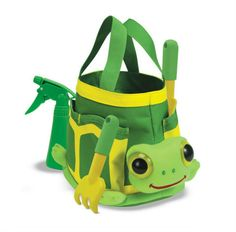 Kid-Friendly Gardening Must-Haves - Kid-friendly gardening totes, especially Tootle here (how cute is he!), will help keep all your sweeties tools organized and in one place.