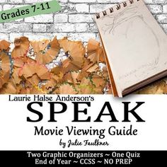 Speak Movie Graphic Organizers and Quiz Pack, End of Year, sub plan