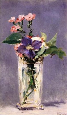 """Edouard Manet - """"Pinks And Clematis In A Crystal Vase"""" . 1882 \\ they are precious and priceless, painted while Manet lay dying. Arte Floral, Art Amour, Impressionism Art, Still Life Art, Paintings I Love, Floral Paintings, Painting Flowers, Oil Paintings, Fine Art"""