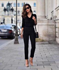 Business Casual: black pants, black top, nude heels